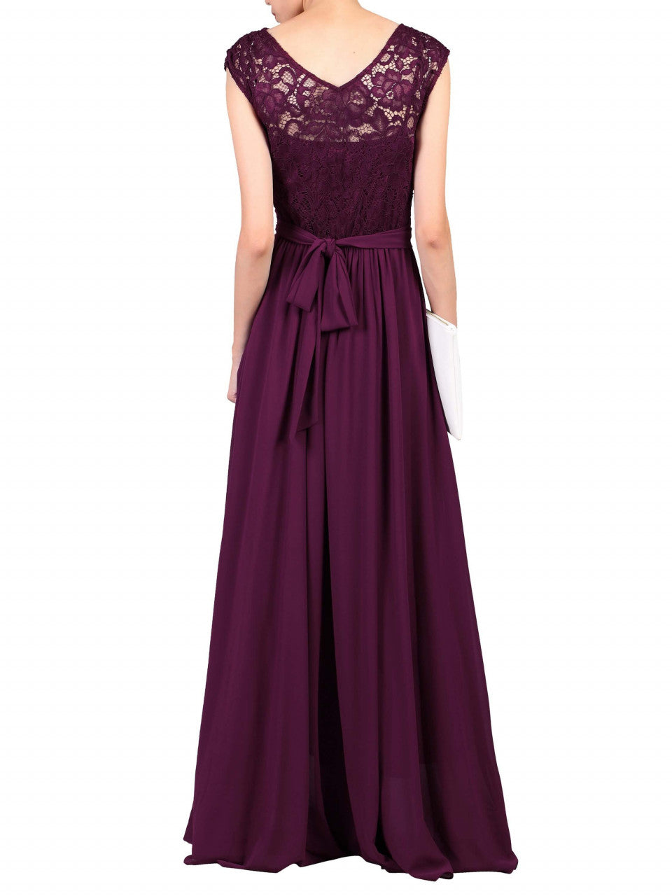 ac4779c04860 ... Load image into Gallery viewer, Jolie Moi Lace Bodice Pleated Maxi Dress,  Burgundy ...