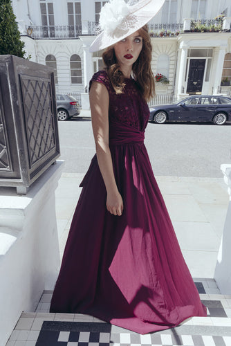 Jolie Moi Lace Bodice Pleated Maxi Dress, Burgundy