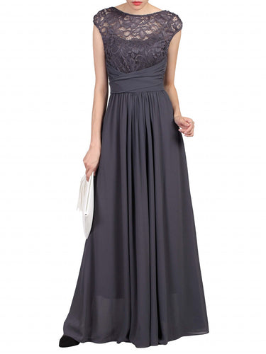 Lace Bodice Wrap Belt Maxi Dress Dark Grey