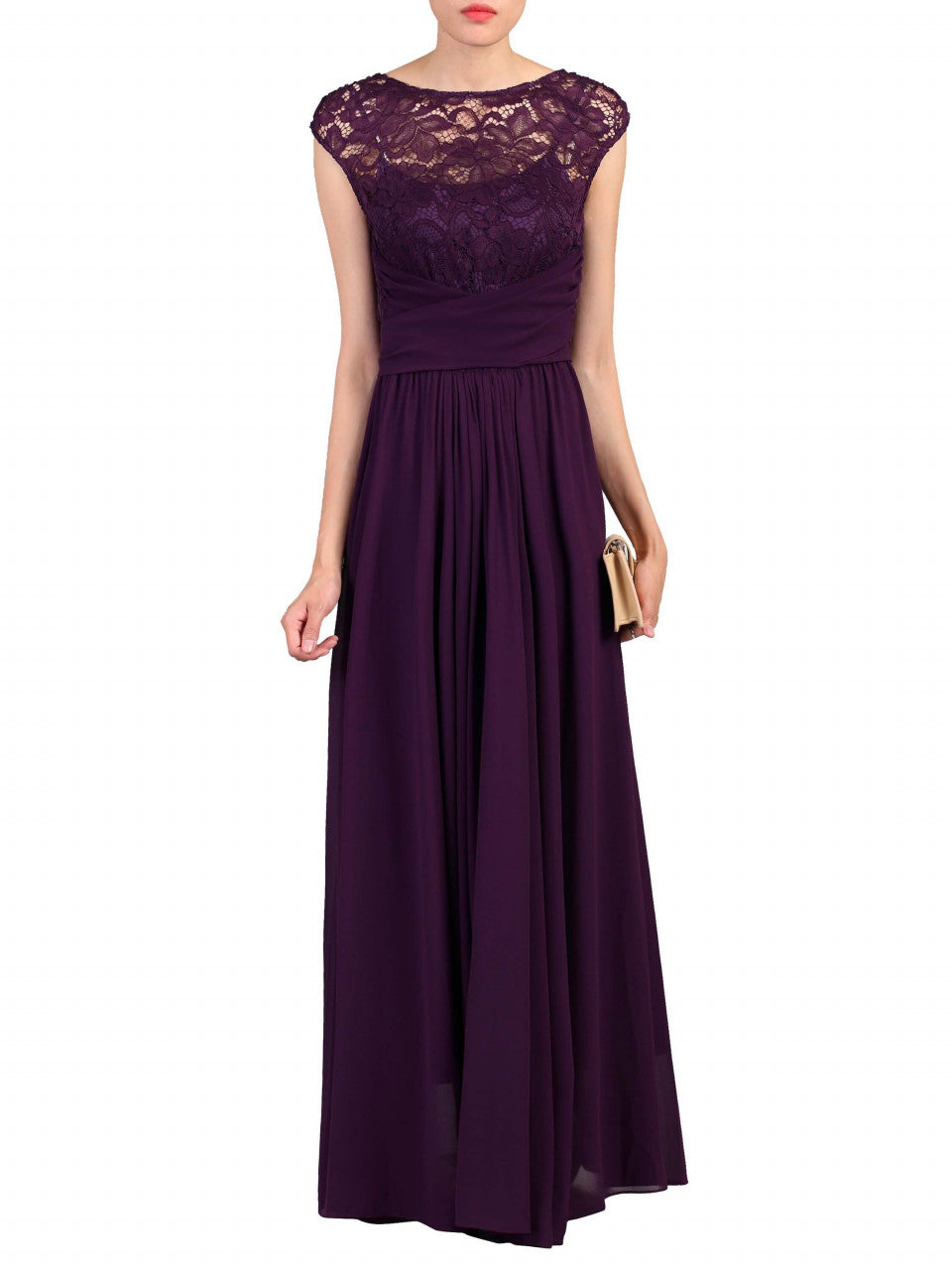 43725b863053 Load image into Gallery viewer, Jolie Moi Lace Bodice Pleated Maxi Dress,  Dark Purple ...