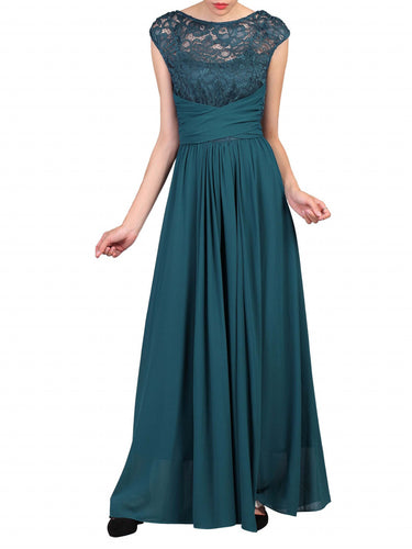 Jolie Moi Lace Bodice Pleated Maxi Dress, Dark Teal