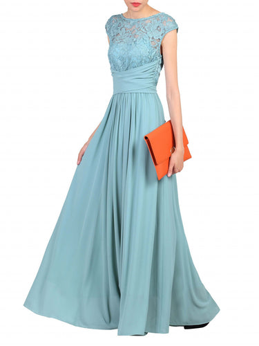 Jolie Moi Lace Bodice Pleated Maxi Dress, Duck Egg Blue