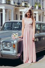 Load image into Gallery viewer, Jolie Moi Lace Bodice Pleated Maxi Dress, Mauve