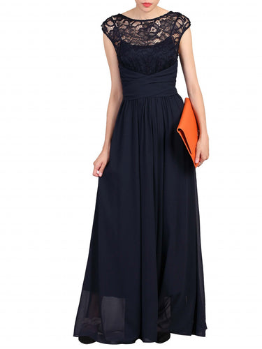 Jolie Moi Lace Bodice Pleated Maxi Dress, Navy