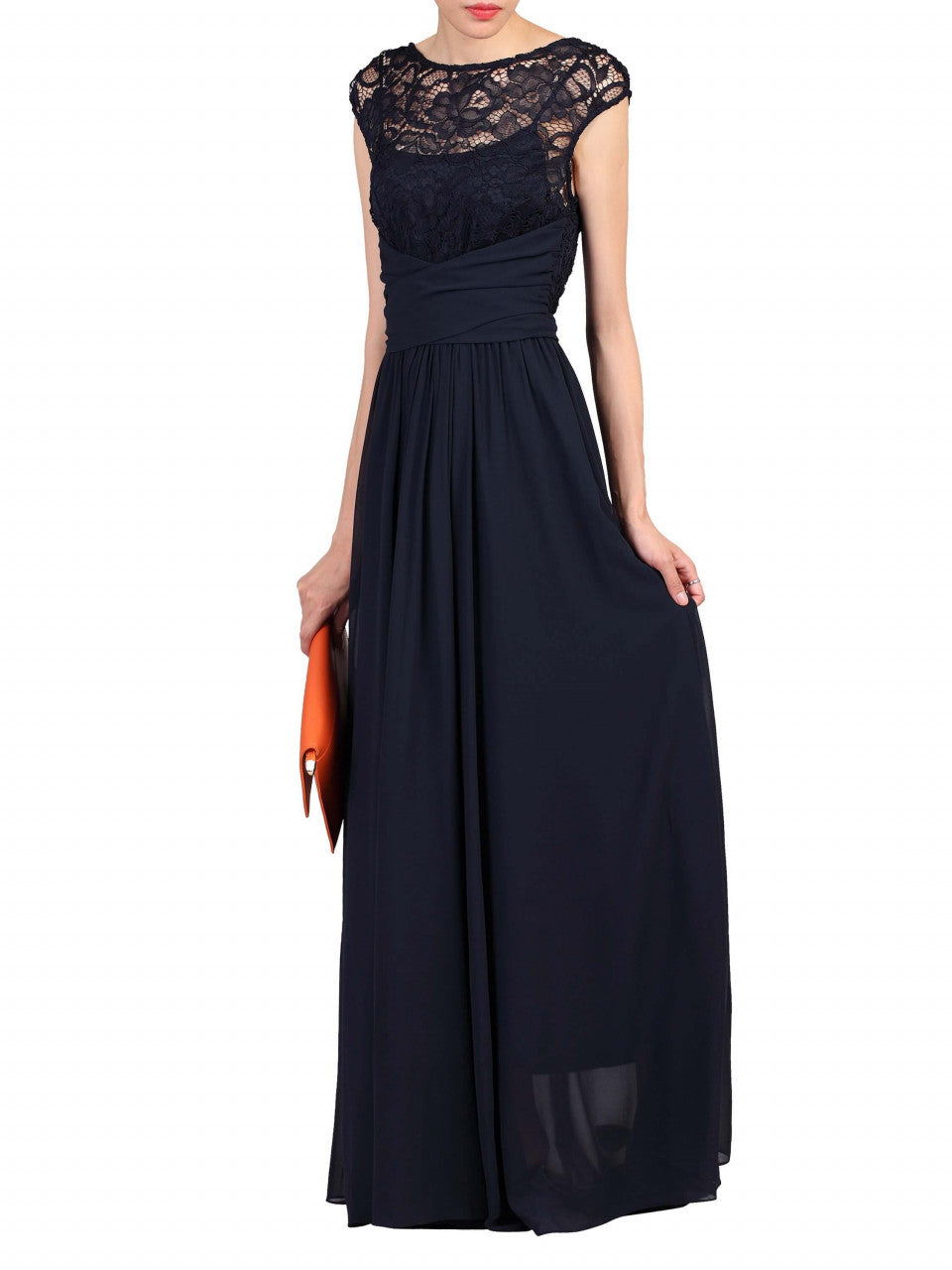950dff9c47c4 ... Load image into Gallery viewer, Jolie Moi Lace Bodice Pleated Maxi Dress,  Navy ...
