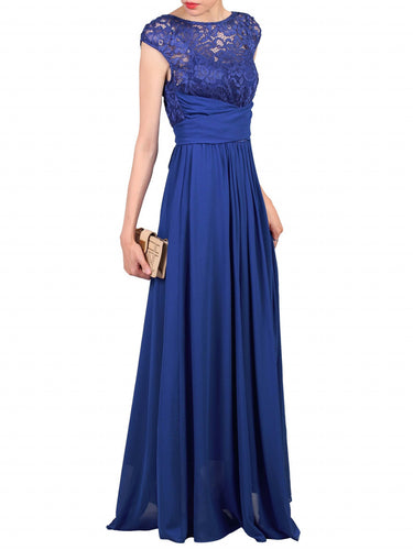 Jolie Moi Lace Bodice Pleated Maxi Dress, Royal Blue