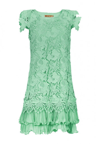Jolie Moi Crochet Lace Overlay Dress, Mint Green
