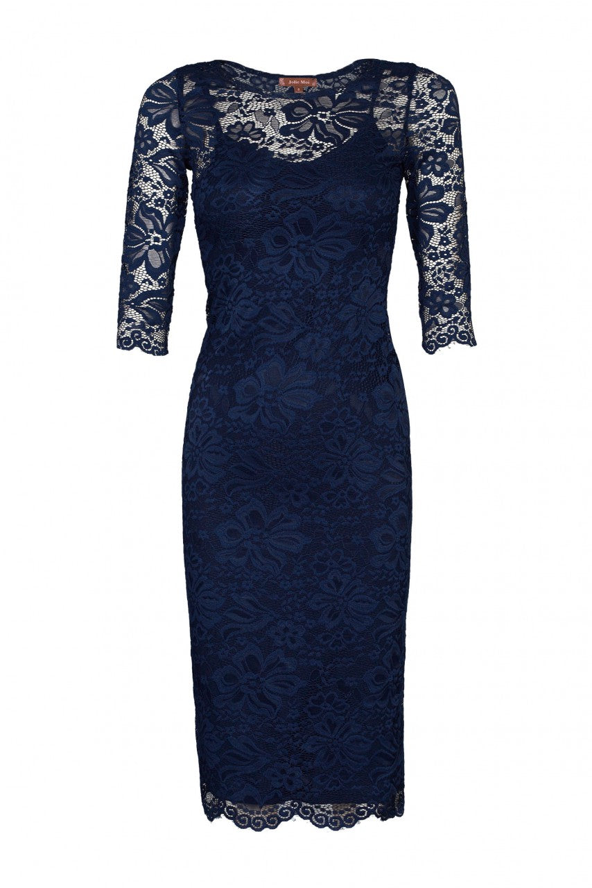 Jolie Moi 2-in-1 Scallop Lace Dress, Navy