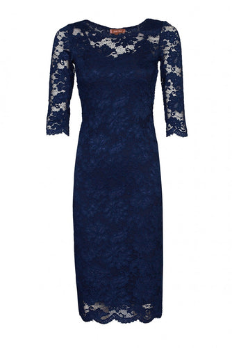 Jolie Moi 2-in-1 Scallop Dress, Navy
