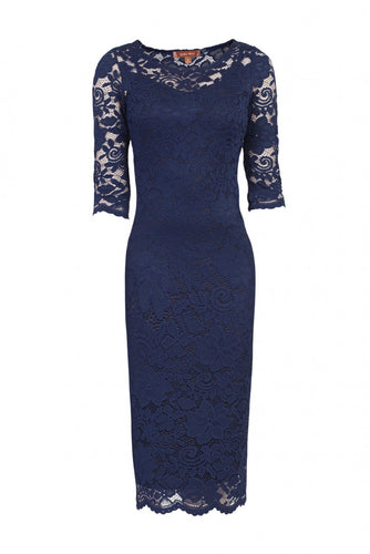 Jolie Moi Scalloped Lace Bodycon Dress, Navy