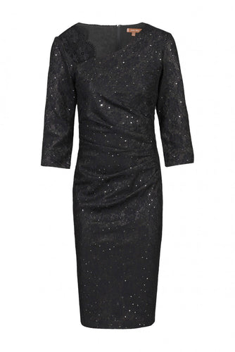 Jolie Moi Three-Quarter Sleeve Bonded Lace Dress, BLACK