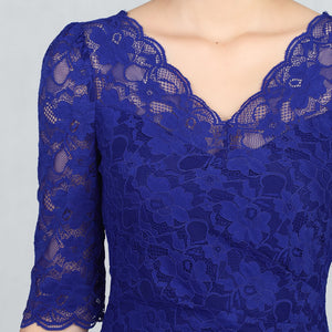 Three-Quarter Sleeve Scalloped Lace Dress, Royal Blue