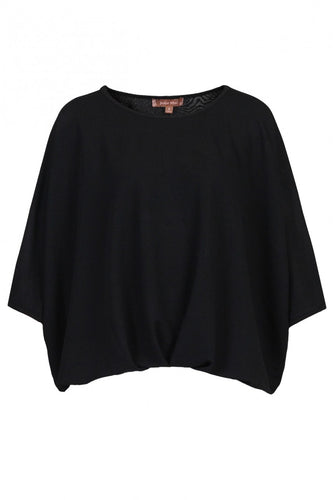 Jolie Moi Ruched Batwing Top, Black