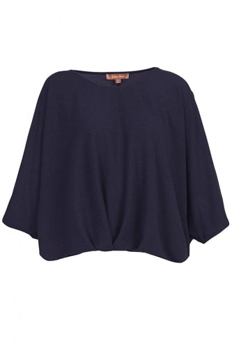 Jolie Moi Ruched Batwing Top, Navy