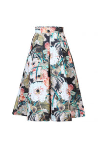 Jolie Moi Floral Print 50s A-line Skirt, brown pattern