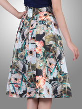 Load image into Gallery viewer, Jolie Moi Floral Print 50s A-line Skirt, brown pattern