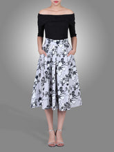 Load image into Gallery viewer, Jolie Moi Floral Print 50s A-line Skirt, grey pattern