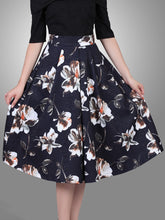 Load image into Gallery viewer, Jolie Moi Floral Print 50s A-line Skirt, navy