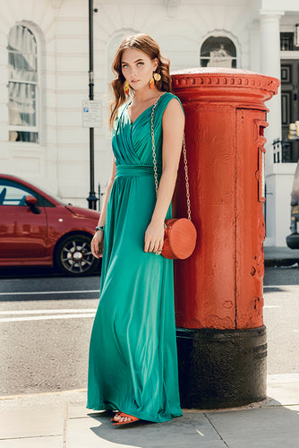 Jolie Moi Plunge Wrap Maxi Dress, Green