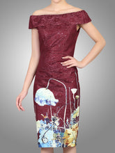 Load image into Gallery viewer, Jolie Moi Lace Bonded Bardot Neck Dress, DARK RED