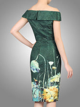 Load image into Gallery viewer, Lace Bonded Bardot Neck Dress, DARK GREEN