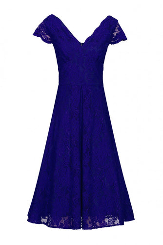 Jolie Moi Cap Sleeve Scalloped Lace Dress, ROYAL BLUE