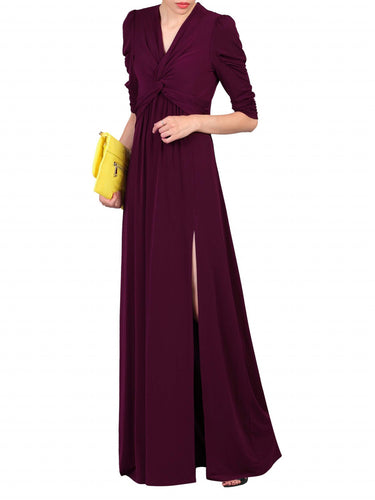 Jolie Moi Twist Knot Front Dress, Burgundy
