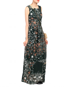 Cross Belt Maxi Dress, Dark Green