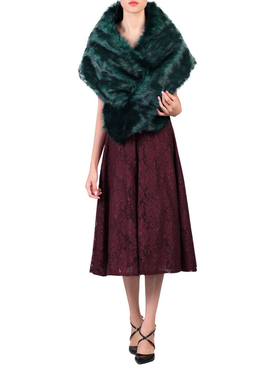 Jolie Moi Faux Fur Stole Wrap, Dark Teal