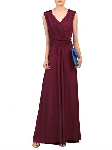 Jolie Moi Plunge Wrap Dress, Burgundy