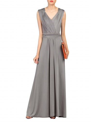 Jolie Moi Plunge Wrap Dress, Grey