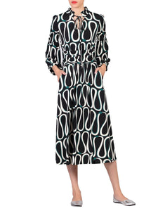 Print Long Sleeve Midi Dress Black Pattern