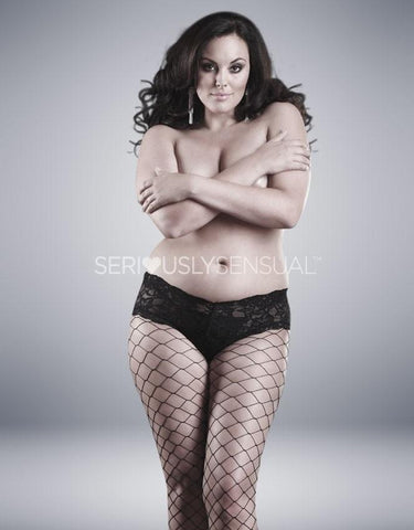 Fence Net Tights W/Boy Short Top Plus Size
