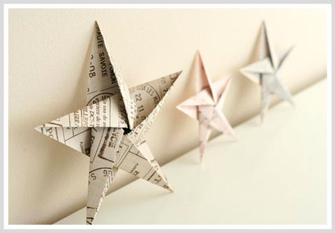 Origami Star Christmas Ornament Set