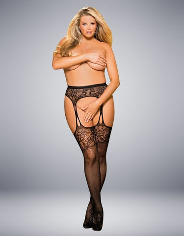 PLUS SIZE SUSPENDER STOCKINGS BLACK
