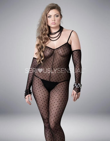 Plus Size Mini Daisy Bodystocking W/Attached Sleeves