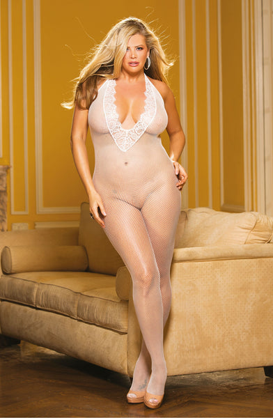 PLUS SIZE FISHNET & EYELASH LACE BODYSTOCKING WHITE