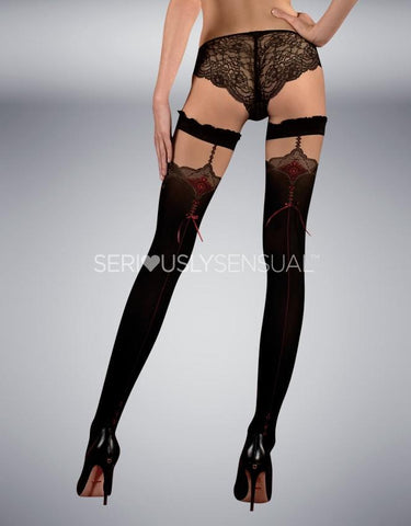 Ballerina 346 Hold Ups Nero (Black-Red) - SeriouslySensual