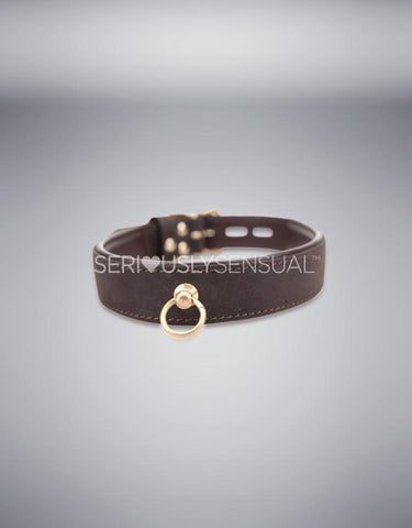 Bound Nubuck Leather Choker with O Ring - SeriouslySensual