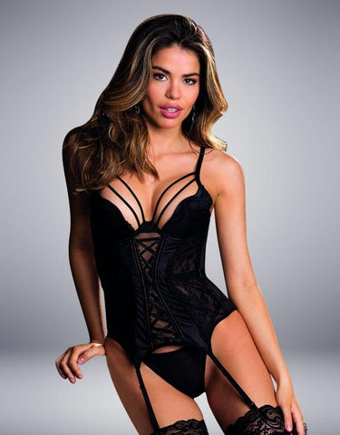 BUSTIER & G-STRING SET BLACK - SeriouslySensual