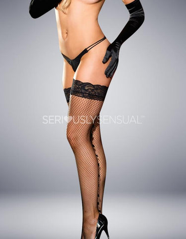 FISHNET STAY UP STOCKINGS BLACK