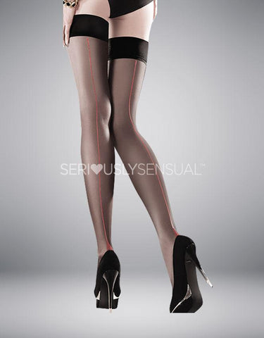 Gabriella Sensual Capri Red Line Stockings - SeriouslySensual