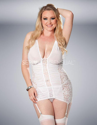Hot Lingerie Lace Gartered Chemise - White - SeriouslySensual