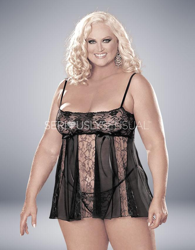 Hot Lingerie Sheer Lace Babydoll (Plus Size) - Black - SeriouslySensual