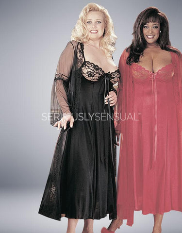 Intimate Attitudes 2 Piece Gown Set - Black - SeriouslySensual