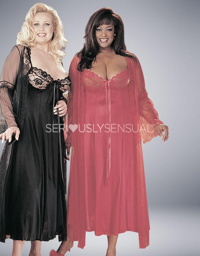 Intimate Attitudes 2 Piece Gown Set - Red - SeriouslySensual
