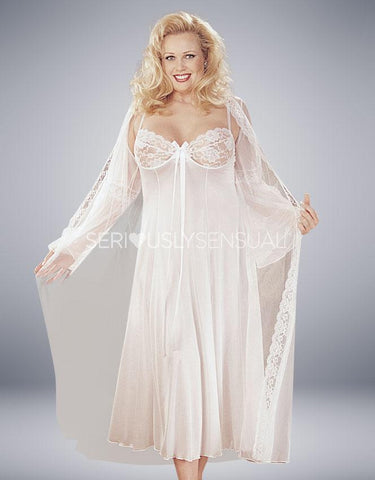 Intimate Attitudes 2 Piece Gown Set - White - SeriouslySensual