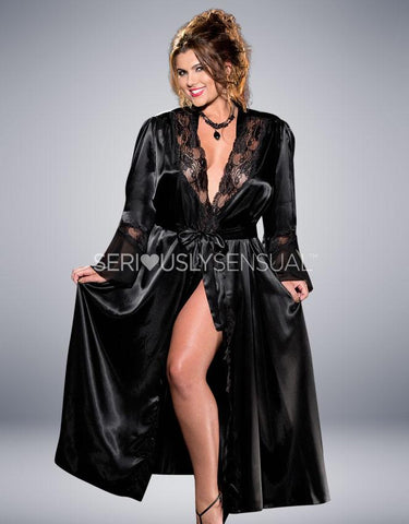 Intimate Attitudes Long Robe Black - X20559 - SeriouslySensual