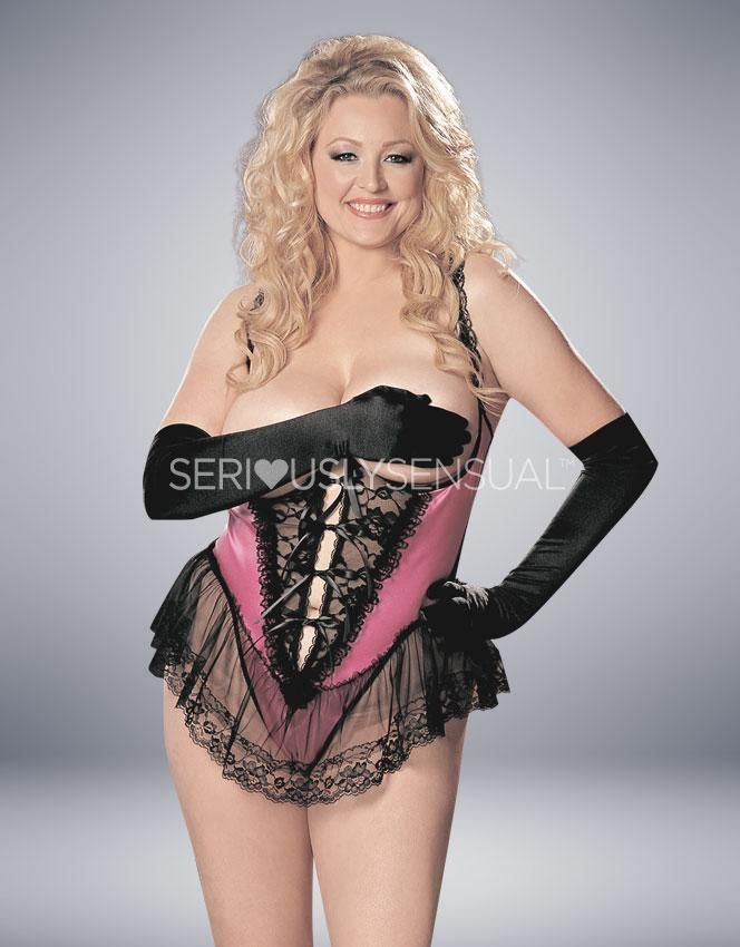 Intimate Attitudes Satin Open Bust Teddy - Hot Pink - SeriouslySensual