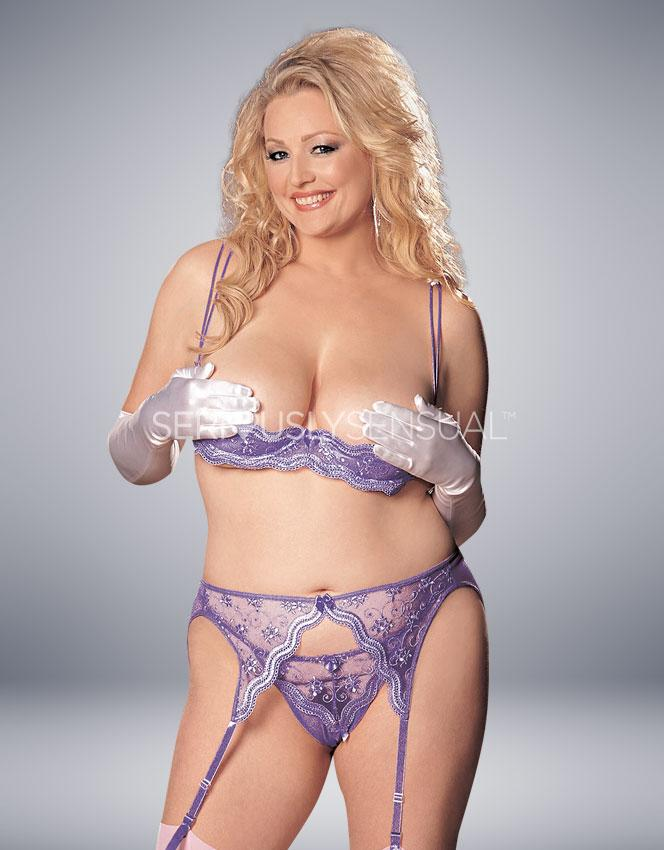 Intimate Attitudes Scalloped Shelf Bra Set - Purple - SeriouslySensual